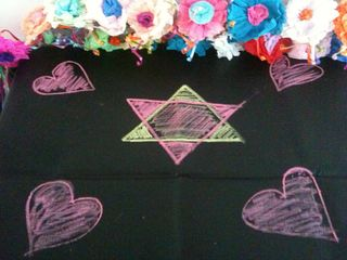 Chalk cloth love altar