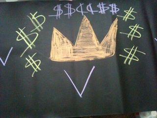 Chalk cloth money altar